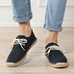Men Hand Stitching Non Adhesives Linen Flat Lace Up Espadrilles – narachic Leather Loafers, Leather Sandals, Loafers Men, Men Sandals, Leather Men, Casual Formal Dresses, Lace Up Espadrilles, Espadrille Shoes, Casual Heels