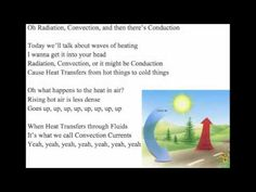 The Heating Song. Here is a video I created for my 6th grade science students to help them study.I hope you enjoy. Today we'll talk about waves of heating  I wanna get it into your head  Radiation, Convection, or it might be Conduction  Cause Heat Transfers from hot things to cold things    I'm gonna kick off my shoes and lie in the sand  Feel ...
