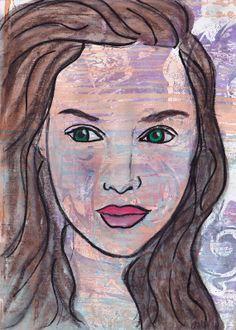 Original Mixed Media Art Portrait Painted on a Abstract Gelli Monoprint Original Painting of a Woman Girl Home Decor Wine Design, Sand Art, Robot Art, Edible Art, Original Paintings, Original Art, Chalk Art, Beautiful Paintings, Mixed Media Art
