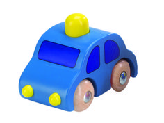 Natural and high quality toys to the development of the skills of children. Blue car with yellow horn