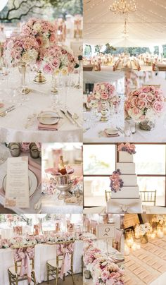 Pink and white tablescapes