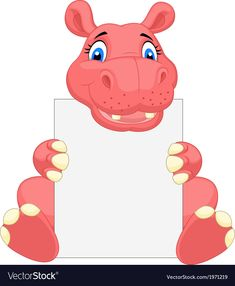 Cute hippo cartoon holding blank sign vector image on VectorStock Dinosaur Pictures, Cute Animal Pictures, Cute Hippo, Blank Sign, School Frame, Photo Images, Box Patterns, Borders For Paper, School Decorations