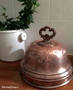 FleaingFrance....French copper cloche Copper Decor, Copper Art, Copper And Brass, Antique Copper, Copper Accents, Copper Kitchen, French Country Decorating, Interior Design Living Room, A Table