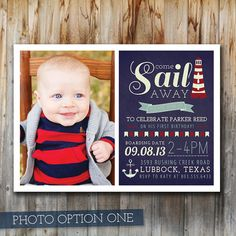 Nautical Photo Birthday Invitation, Boy, Navy and Red, Sailor, Custom, Printable, Double-Sided, First Birthday on Etsy, $17.00 AUD