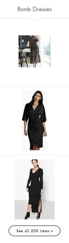 """Bomb Dresses"" by madamshante17 ❤ liked on Polyvore featuring dresses, women, chiffon maxi dress, chiffon dresses, long sleeve maxi dress, fish dress, long sleeve chiffon dress, black, bohemian dresses and wrap dress"