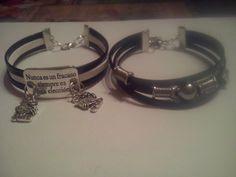 Dos nuevas pulseras una con mensaje y la otra con piezas zamak