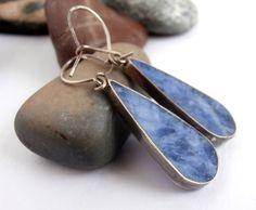 Blue Stone Earrings - Vintage Earrings - Teardrop Earrings - Silver by ReTainReUse on Etsy