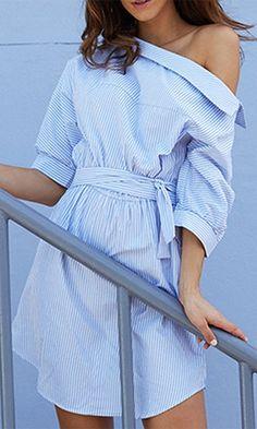 On The Promenade Blue White Vertical Stripe Elbow Sleeve Off The Shoulder Tie Waist Mini Shirt Dress