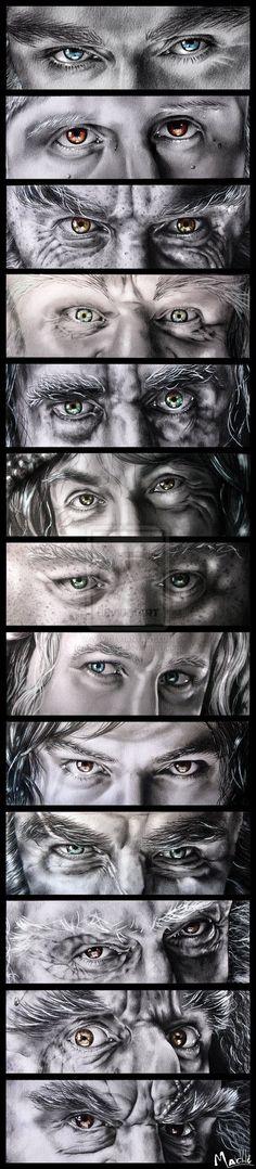 The Dwarves eyes: Thorin Ori Nori Dori Bifur Bofur Bombur Fili Kili Dwalin Balin Oin Gloin. Yes I know them all by their eyes. O Hobbit, Hobbit Hole, Hobbit Dwarves, Bilbo Baggins, Thorin Oakenshield, Tauriel, Thranduil, Legolas, Fili Und Kili