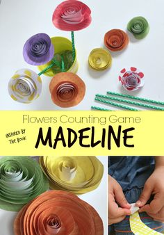 Madeline Math Activity with Spiral Paper Flowers. Plus a creative way to teach kids to share their well wishes to others. Includes step by step tutorial for how to make the spiral paper flowers with kids. Math Activities For Kids, Preschool Math, Book Activities, Counting Activities, Maths, Montessori Math, Teaching Math, Teaching Ideas, Spring Projects