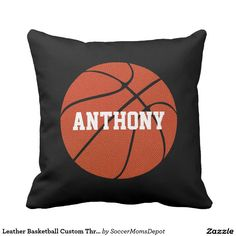 Leather Basketball Custom Throw Pillow #basketball #pillow #boysroom #sports