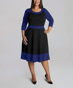 This Black & Royal Blue Evey A-Line Dress - Plus by IGIGI is perfect! #zulilyfinds
