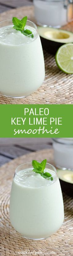 Healthy Smoothies Recipe Even though this paleo key lime pie smoothie is gluten free, dairy free and egg free, it's decadent enough for dessert. And it's faster than baking a pie. - An easy paleo smoothie recipe with avocado and coconut milk. Smoothie Bol, Smoothie Drinks, Healthy Smoothies, Healthy Drinks, Avacado Smoothie, Coconut Milk Smoothie, Paleo Key Lime Pie, Paleo Recipes, Smoothie Recipes