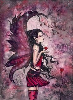 Valentine Fairy Fine Art Fantasy Print of Watercolor Painting by Molly Harrison 9 x 12 'Hearts', via Etsy. Magical Creatures, Fantasy Creatures, Elfen Tattoo, Amy Brown Fairies, Dark Fairies, Dragons, Fairy Pictures, Gothic Fairy, Beautiful Fairies