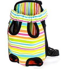 Colorful Stripe Pattern Front Backpack Bag Pet Carrier for Dogs (S-XL) Airline Pet Carrier, Dog Carrier, Dog Pattern, Stripe Pattern, Animal Bag, Yorkie Puppy, Pet Cage, Pet Costumes, Pet Carriers