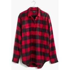 MADEWELL Flannel Oversized Ex-Boyfriend Shirt in Buffalo Check ($82) ❤ liked on Polyvore featuring tops, red sangria, red top, boyfriend flannel shirt, flannel shirts, red button down shirt and red shirt