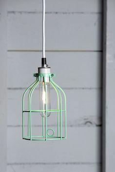 Industrial Lighting - Mint Green Wire Cage Light Pendant by IndLights Cage Pendant Light, Industrial Pendant Lights, Pendant Lighting, Jar Chandelier, Wire Pendant, Pendant Lamp, Home Lighting, Lighting Design, Modern Lighting