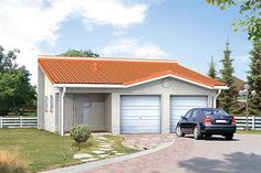 Projekt domu Bez dr-T 88,07 m2 - koszt budowy - EXTRADOM Bungalow House Plans, Bungalow House Design, Country Modern Home, Facade House, Home Design Plans, Wood Construction, Planer, Sweet Home, Shed