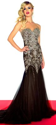 Mac Duggal Prom 2013 - Strapless Black Embroidered Chiffon Mermaid Gown