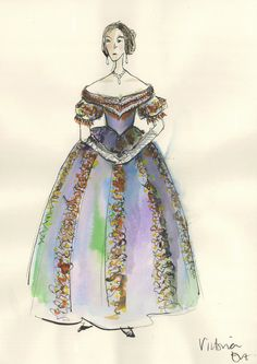 """Costume illustration for """"Queen Victoria"""" (Emily Blunt) from 'The Young Victoria' Design by Sandy Powell. Victoria Movie, Queen Victoria, Victorian Era Fashion, Victorian Dresses, The Young Victoria, Sandy Powell, Costume Design Sketch, Tea Gown, Hollywood Costume"""