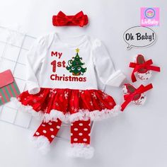 4Pcs Newborn Baby Girl Christmas Tutu Dress Outfit Set, included in a romper tutu dress,a headband,a leg warmer,a pair shoes Snap closure conveniently for changing baby's diaper. Perfect for Christmas, birthday party, photos, holiday or daily wear. So cute design,best gift for your baby in christmas party  Baby's First Christmas Outfit, Christmas Tutu Dress, Newborn Christmas, Baby Girl Christmas, Babies First Christmas, Christmas Baby, Christmas Birthday, Baby Nursery Diy, Party Photos