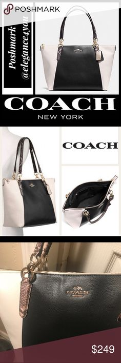 """COACH NWOT RARE Authentic Ava Tote! COACH Exotic Ava Tote! NWOT The Ava tote is one of Coach's most popular. It's spacious zip-top main compartment makes it a must-havein anyone's wardrobe! Hardware: Goldtone Handles: Double top handles Interior pockets: Inside zip (1), multi-function pockets (2) Color: Black White Multi Appx: 12.5"""" L Base, 16.75"""" L Top, 9.75"""" H, 5"""" D Strap Drop: 9"""" Sorry no trades. @elegance4you Coach Bags Totes"""