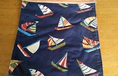 Nautical Indoor Outdoor Table Runner Topper Water Repellant 13x72 Sailboats