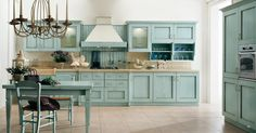 Teal cabinets, wood countertops