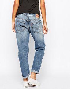 Image 2 of Levis 501 Ct Destroyed Boyfriend Jeans Jeans Estilo Boyfriend, Best Boyfriend Jeans, Boyfriend Jeans Outfit Casual, Jean Outfits, Cool Outfits, Casual Outfits, Fashion Outfits, Leder Outfits, Distressed Denim Jeans