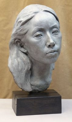 "Sculptor Tristan MacDougall. ""'Portrait of Junko (bronze)"""