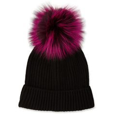 Neiman Marcus Cashmere Hat w/ Fox Fur Pompom, Black/Magenta Slouch Beanie, Slouchy Hat, Beanie Hats, Beanies, Neiman Marcus, Cashmere Hair, Fur Pom Pom Hat, Pom Poms, Bobble Hats
