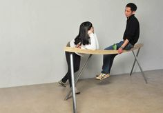 This is a bench design initially come from the observation of handrail. People sit on the handrail subconsciously, sometimes a often sat spot starts bending by human weight. Eventually, a curved handrail will encourage  more people to sit on which lead to more bending. The height of BENT BENCH is designed for comfortable chatting with some people leaning/sitting and some people standing. The curvature also encourage people to sit closer.