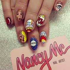 Pop Art nails for @swoonnails! Thanks so much Lia ❤ #nancymcnails #nailart…