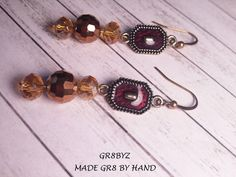 Maroon adornment with gold tone glass beaded dangle by gr8byz