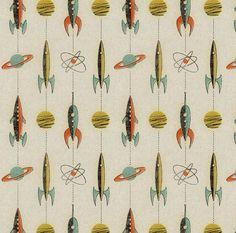 Retro rockets fabric by mumbojumbo on Spoonflower - custom fabric - I desperately want yardage of this! So VERY retro! Mid Century Modern Fabric, Mid Century Art, Mid Century Modern Design, Retro Fabric, Vintage Fabrics, Vintage Design, Retro Design, Design Design, Retro Art
