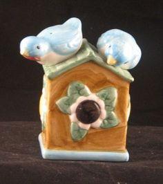 Ceramic Birdhouse and Birds Nodder Salt Pepper Shakers #starchild3