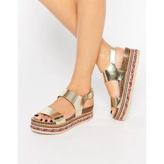 Carvela Kitten Gold Leather Beaded Flatform Sandals ($144) ❤ liked on Polyvore featuring shoes, sandals, gold, gold open toe shoes, open toe shoes, metallic sandals, gold leather sandals and metallic shoes