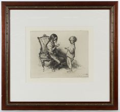 """Lot 346: John Edward Costigan (American, 1888-1972) """"Rosella & Danny"""" Etching; Undated, signed lower right, numbered 4/75, depicting two children"""
