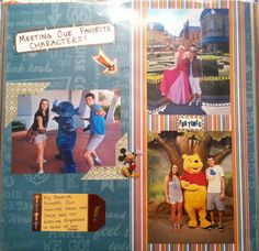 Meeting our favorite characters at Disney world scrapbook page (pooh, Aurora, stitch)