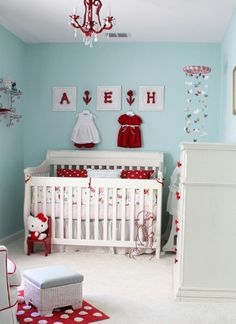 #Turquoise #Nursery with Pops of #Red - and minus the hello kitty