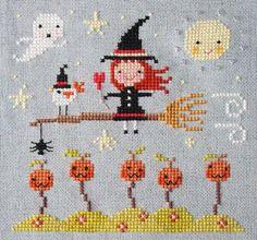 cute cross stitch; flossbox Cross Stitching, Cross Stitch Embroidery, Embroidery Patterns, Hand Embroidery, Cute Cross Stitch, Cross Stitch Designs, Cross Stitch Patterns, Halloween Cross Stitches, Halloween Crafts