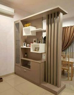 Wooden door interior furniture Best Ideas - Lilly is Love Room Partition Wall, Living Room Partition Design, Living Room Divider, Room Partition Designs, Living Room Tv Unit Designs, Room Door Design, Home Room Design, Home Interior Design, Wood Partition