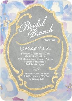 Glittering Filigree - Signature White Bridal Shower Invitations - Coloring Cricket - Wisteria - Purple : Front