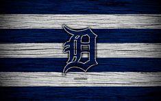 Download wallpapers Detroit Tigers, 4k, MLB, baseball, USA, Major League Baseball, wooden texture, art, baseball club