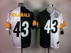 Nike Steelers #43 Troy Polamalu White/Black Men's Embroidered NFL Elite Split Jersey @Emillia Kelly