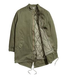 Parka in washed cotton twill with a stand-up collar. Detachable, lightly padded, quilted liner jacket. Khaki green. | H&M Divided Guys