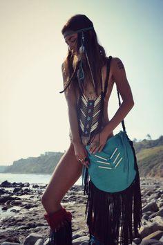 GYPSY Traveler Boho Bag /// Turquoise /// Large by luxdivine
