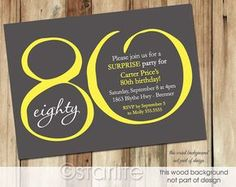 80th Birthday Invitation Yellow Dark Gray Modern por starwedd
