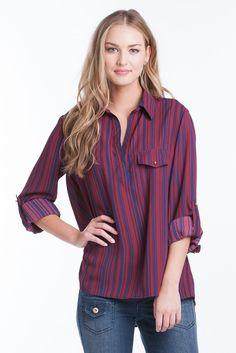 Dani Top - Ruby/Navy Stripe