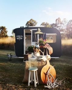 Small traveling business in a tiny restored trailer
